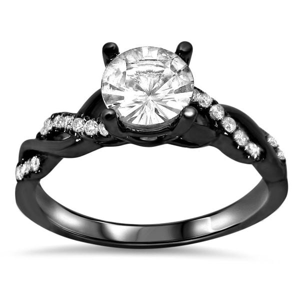 Noori 14k Black Gold 1/5ct TDW Diamond and Round-cut White Sapphire Engagement Ring (G-H, SI1-SI2)
