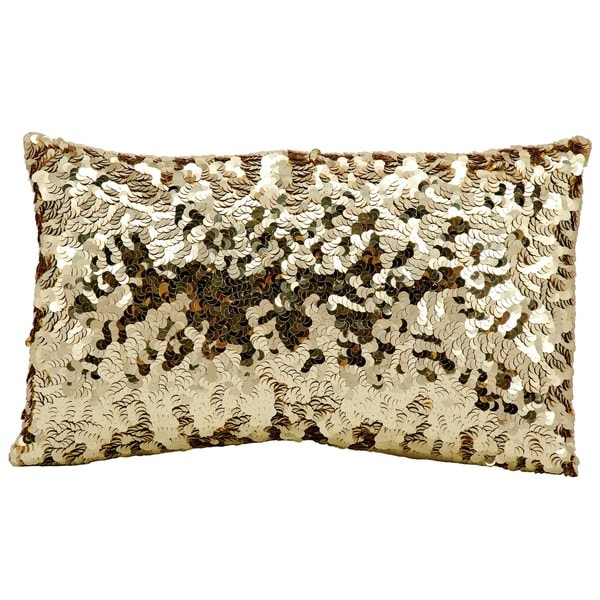 Mina Victory Circle Sequin Gold 12 x 20-inch Throw Pillow by Nourison