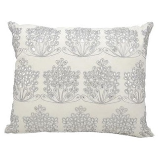 Michael Amini Ice Flowers White Throw Pillow (18-inch x 22-inch) by Nourison