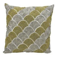 Mina Victory Beaded Scallops Silver/ Gold 18 x 18-inch Throw Pillow by Nourison