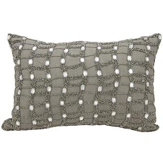 Mina Victory Beaded Ladders Pewter 12 x 18-inch Throw Pillow by Nourison