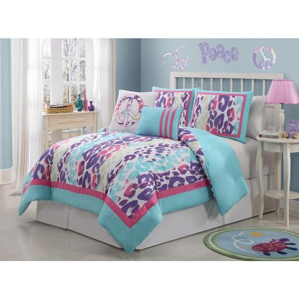 Vcny ashley animal print peace sign 6 piece comforter set free shipping today - Teen cheetah bedding ...