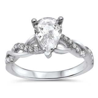Noori 14k White Gold 1/5ct TDW Diamond and Pear-cut White Sapphire Engagement Ring (G-H, SI1-SI2)