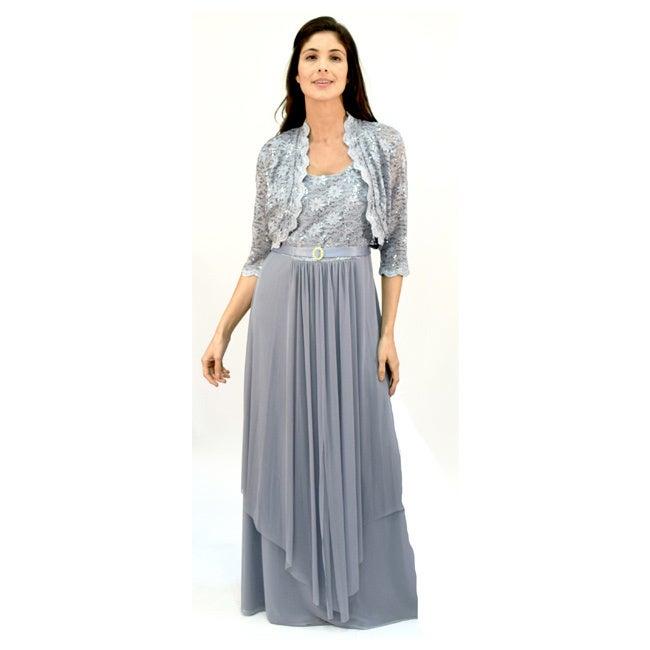 R & M Richards R&M Richards Lace Jacket Dress (Silver - 1...