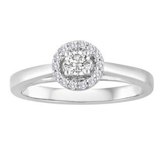 Platinaire 1/4ct TDW Round Diamond Solitaire Engagement Ring - White H-I