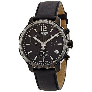 Tissot Men's T0954173605702 'Quickster' Chronograph Black Leather Watch