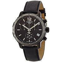 Tissot Men's T095.417.36.057.02 'Quadrato' Black Dial Black Leather Strap Chronograph Swiss Quartz Watch