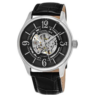 Stuhrling Original Men's Delphi Skeletonized Automatic Leather Strap Watch - black