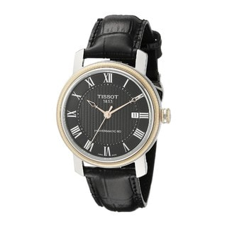 Tissot Men's T0974072605300 'T-Classic Bridgeport Powermatic 80' Automatic Black Leather Watch