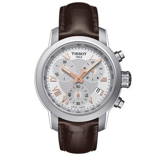 Tissot Women's T0552171603302 'PRC 200' Chronograph Brown Leather Watch