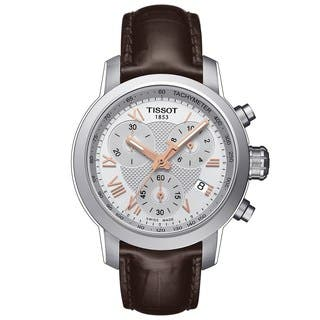 Tissot Women's T0552171603302 'PRC 200' Chronograph Brown Leather Watch|https://ak1.ostkcdn.com/images/products/10327534/P17438310.jpg?impolicy=medium