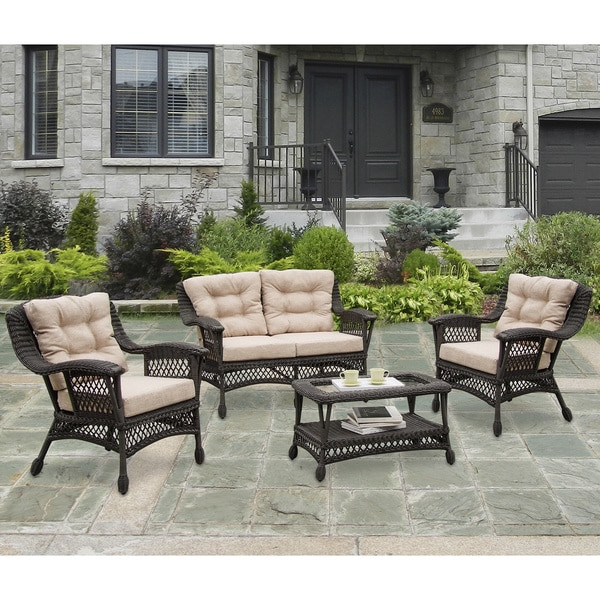 W Unlimited 5 Piece Moon Collection Outdoor Patio Furniture Set With Coffee  Table And Cushions