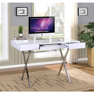 K&B Furniture White Metal/Wood x Computer Desk