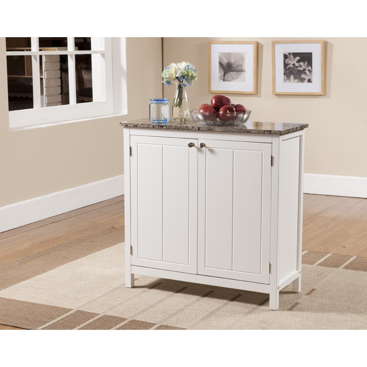 K & B White and Faux Marble Small Kitchen Island Cabinet