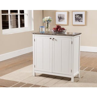 K & B White and Faux Marble Small Kitchen Island Cabinet - Thumbnail 0