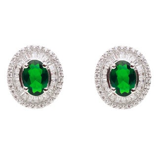 Blue Box Jewels Sterling Silver Oval Green Cubic Zirconia Earrings