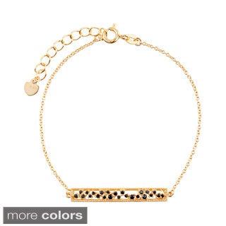 Blue Box Jewels Sterling Silver Onyx Short Bar Bracelet