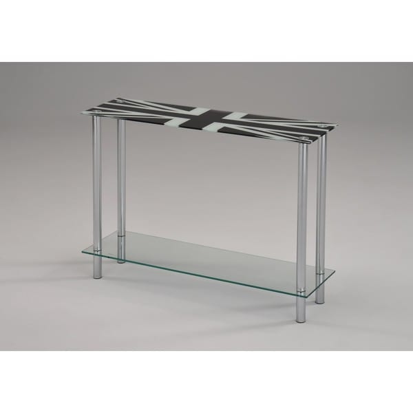 London Printed Glass/Chrome Console Table