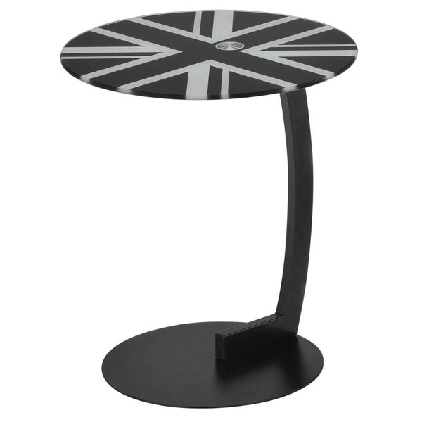 Shop London Printed Glass/ Chrome Round Accent Table