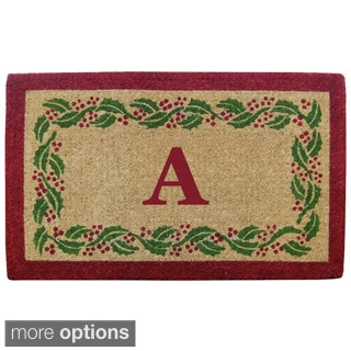 Hand-tufted Heavy Duty Coco Holly Ivy Border Monogram Mat (1'10 x 3')