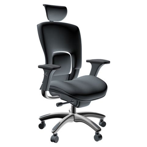 GM Seating Ergolux Genuine White Leather Executive Hi Swivel Chair Chrome Base with Headrest