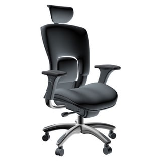GM Seating Ergolux Genuine White Leather Executive Hi Swivel Chair Chrome Base with Headrest