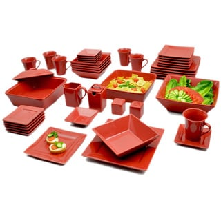 10 Strawberry Street Vivo Red Square 45-piece Dinner Set