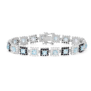 Gioelli Sterling Silver Blue Topaz with Black Spinel and Created White Sapphire Accents Link Bracelet