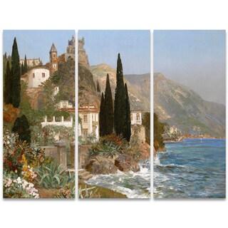 Design Art 'Oceanview European Village' 36 x 28-inch 3-panel Canvas Art Print