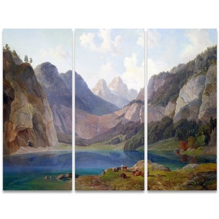 Design Art 'Rocky Mountain Waterfall' 36 x 28-inch 3-panel Canvas Art Print