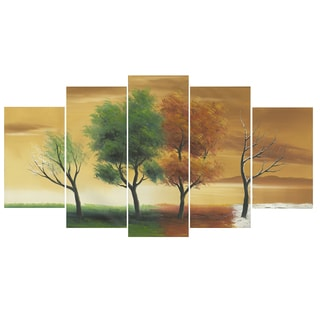 Design Art 'Four Seasons' 60 x 32-inch 5 Piece Landscape Canvas Art Print