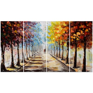 Design Art Landscape Forest 'Lets Go For A Stroll' 48 x 28-inch 4-panel Canvas Art Print