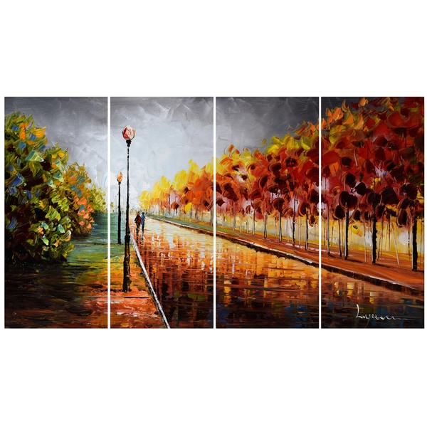 design art landscape trees stormy autumn 48 x 28 inch 4 panel