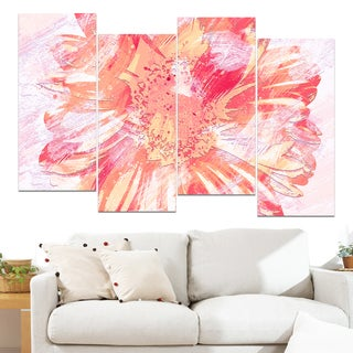 Design Art 'GrapeFruit Color Flower' 48 x 28-inch 4-panel Canvas Art Print