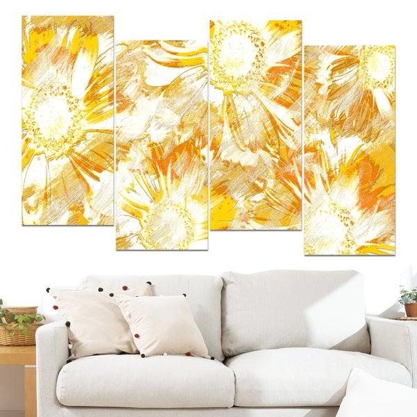 Design Art 'Yellow Flowers' 48 x 28-inch 4-panel Canvas Art Print