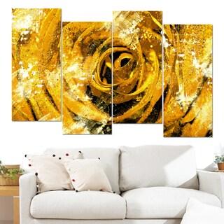 Design Art 'Center of the Yellow Rose' 48 x 28-inch 4-panel Canvas Art Print