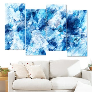 Design Art 'Blue Abstract Flowers' 48 x 28-inch 4-panel Canvas Art Print