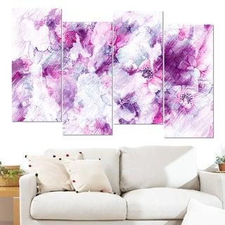 Design Art 'Pink Abstract Flowers' 48 x 28-inch 4-panel Canvas Art Print