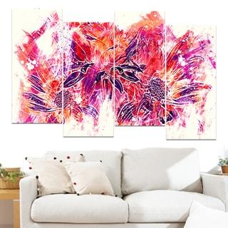 Design Art 'Electric Orange Flowers' 48 x 28-inch 4-panel Canvas Art Print