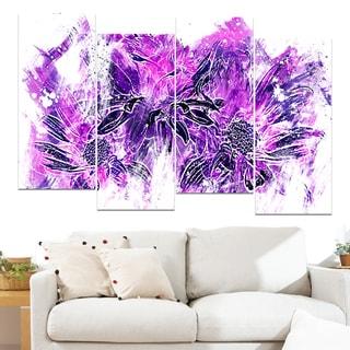 Design Art 'Electric Purple Flowers' 48 x 28-inch 4-panel Canvas Art Print