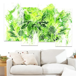 Design Art 'Electric Green Flowers' 48 x 28-inch 4-panel Canvas Art Print