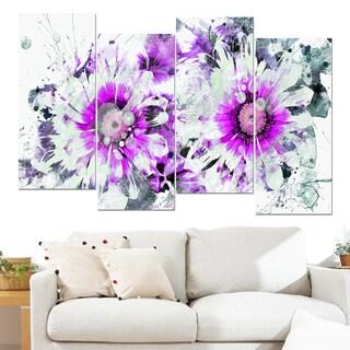 Design Art 'Purple and White Daisies' 48 x 28-inch 4-panel Canvas Art Print