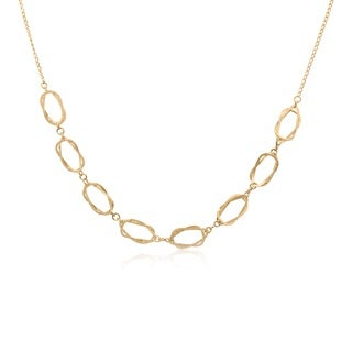 Gioelli 14k Yellow Gold Wavy Oval Link Necklace