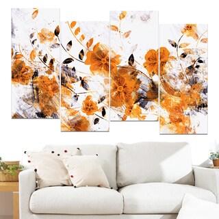 Design Art 'Dark Yellow Flower Trail' 48 x 28-inch 4-panel Canvas Art Print
