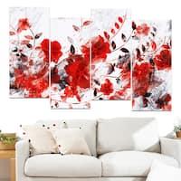 Design Art 'Red Orange Flower Trail' 48 x 28-inch 4-panel Canvas Art Print