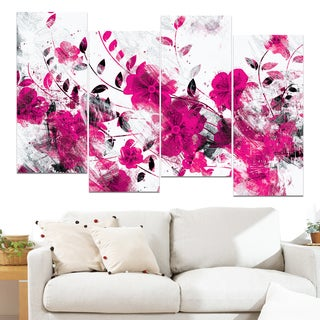 Design Art 'Pink Trail of Flowers' 48 x 28-inch 4-panel Canvas Art Print