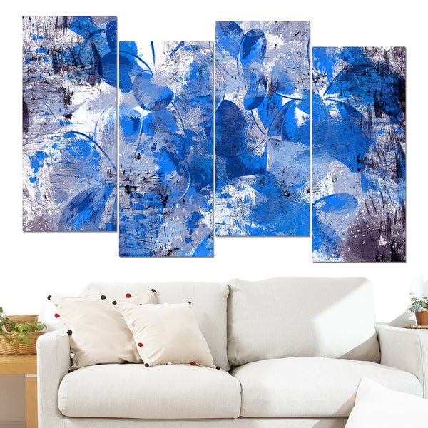 shop design art blue flower petals 48 x 28 inch 4 panel canvas art