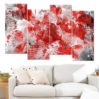 Design Art 'Orange Red Flower Petals' 48 x 28-inch 4-panel Canvas Art Print