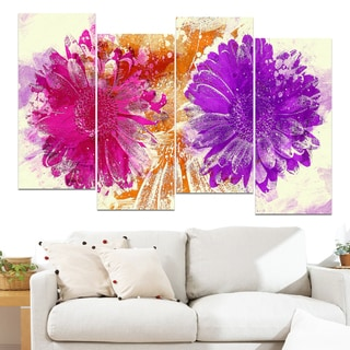 Design Art 'Pink and Purple Sunflowers' 48 x 28-inch 4-panel Canvas Art Print