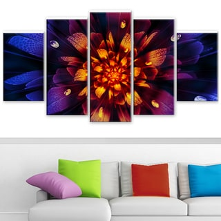 Design Art 'Glow from Wit' 60 x 32-inch 5-panel Floral Canvas Art Print